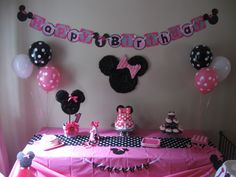 The cake table! The large Minnie Mouse head on the wall was made from cardboard. I traced kitchen bowls (again) for the circular shapes & glued black streamers in a circular/ruffled manner. I freehanded two triangle shapes on carboard for the bow & added pink streamers in the same fashion. The streamers were purchased at Dollar Tree. I used Alene's Craft Glue. The table cloth, plates, and napkins were purchased at Target. The fabric table runner & balloons were purchased on ebay.