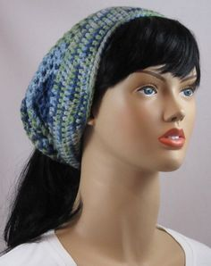Ponytail hat in shades of blue & green FREE by WearablesByAC.etsy.com, $28.00