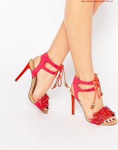 popular Sandalias de tacón rosas con volante y flecos Elisa de Miss KG Rosa 46096621