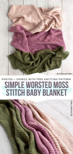 Simple Worsted Moss Stitch Baby Blanket Free Knitting Pattern Moss stitch is eas. Simple Worsted Moss Stitch Baby Blanket Free Knitting Pattern Moss stitch is easy to knit moreover Easy Knit Baby Blanket, Free Baby Blanket Patterns, Easy Knitting Patterns, Knitted Baby Blankets, Crochet Blanket Patterns, Free Knitting, Baby Knitting, Start Knitting, Free Crochet