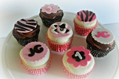 Cupcake Gallery - Kristen's Cake Creations - 1st birthday pink fondant cupcake toppers