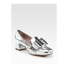 5be91385fa35 Miu Miu Metallic Leather Bow Glitterheel Loafer Pumps in Silver - Lyst