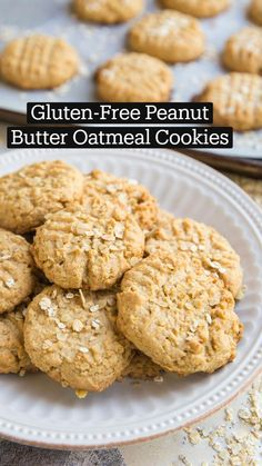 Gluten Free Peanut Butter, Peanut Butter Oatmeal, Gluten Free Cookies, Gluten Free Baking, Peanut Butter Cookies, Gluten Free Desserts, Healthy Baking, Gluten Free Recipes, Vegan Recipes