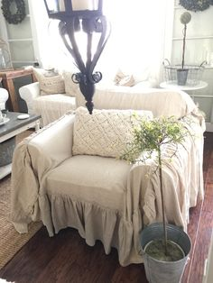 Chair Cover Chair Scarf Chair Throw Slip by SimplyFrenchMarket Furniture, Slipcovered Sofa, Farmhouse Chairs, Slip Covers Couch, Couch Makeover, Recover Couch, Shabby Chic Furniture, Ruffled Chair Covers, Thrown Chair