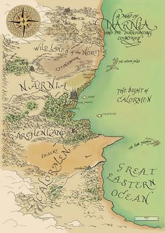 Your place to buy and sell all things handmade - Map of Narnia and the Surrounding Countries by CryptocartographyCo - Map Of Narnia, Narnia 3, Narnia Cast, Cs Lewis Books, Narnia Movies, Fantasy World Map, Chronicles Of Narnia, All Nature, Film Serie