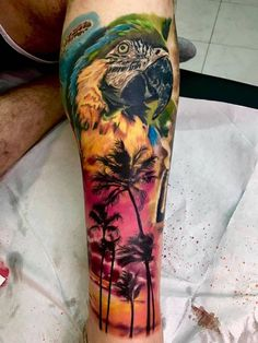 Tatuaje de un atardecer veraniego y loro cicatrizado desde hace casi un año.