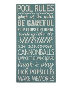Saras Signs Beach Blue Pool Rules Wall Sign | Zulily Pool Rules, Diving Board, Blue Pool, Beach Signs, Cool Pools, Popsicles, Wall Signs, Pool Fun