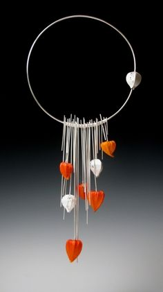 "Necklace | Erin Knisley.  ""Lantern's Flow""  Sterling silver and Chinese Lantern Pods"