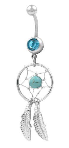 #Aqua #Dream Catcher Navel Ring Belly Rings Body #Jewelry   cute, but not good quality   http://amzn.to/HS8Y8H