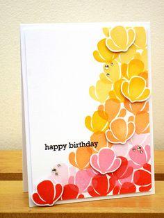 Gradient Flowers Birthday Card by Pamela