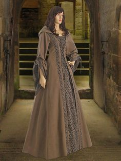 Medieval Renaissance Maiden Dress Gown with Hood clothing Handmade Costume 100% Cotton