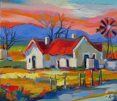 Isabel le Roux -Available Art Gallery South African Artists, Landscape Artwork, Naive Art, Art Lessons, Flower Art, Modern Art, Art Drawings, Art Projects, Illustration Art