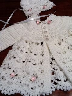 Crochet Baby Design Baby girl sweater with matching hat includes roses made of ribbon. Pink ready SHIPPING by TheNanimalShop on Etsy - Crochet Baby Sweaters, Baby Girl Sweaters, Crochet Baby Clothes, Baby Knitting, Baby Cardigan, Baby Pullover, Baby Outfits, Baby Girl Crochet, Baby Girl Blankets