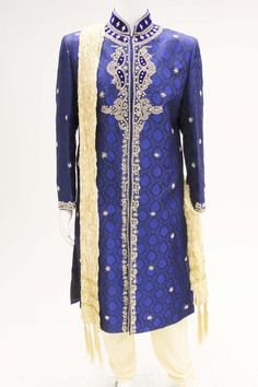 MTS2504 Latest Doger Blue and Gold Sherwani
