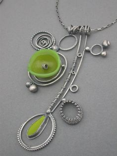 jaime jo fisher acid avocado green collage necklace art jewelry modern wearable art metalsmith found objects quirky funky jaime jo fisher. $350.00, via Etsy.