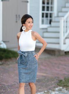 chambray bow skirt + white halter top // easy & elegant summer outfits