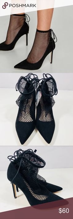 """NWT Zara Heels With Mesh * Sock-effect mesh shaft detail  * Pointed Toe  * Lined Stiletto Heel  *Lace-up fastening on the back of the sock  *Heel height 3.9"""" LIKE WHAT YOU SEE??? MAKE AN OFFER!!! Zara Shoes Heels"""