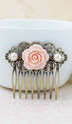 Wedding Hair Comb Vintage Style Pale Pink Rose Flower