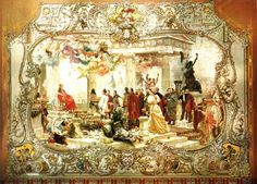 Croatian coat of arms 1800-1900---A detail from the ceremonial curtain of the Croatian National Theatre, Zagreb, by Vlaho Bukovac, 1895