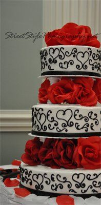 Red, Black & White Wedding Cake - by Street Style Photography! Definitely want this except where it is black hearts we need them to be aqua blue!! <3