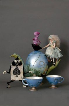 Alice in Wonderland teaset with sculpts by Nicole West.