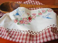 Sweet Bluebirds a Tea Towel with a Vintage by TwoGirlsLaughing