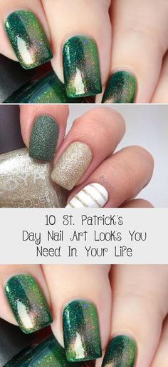 10 St. Patrick's Day Nail Art Looks You Need In Your Life #NailArtGalleriesAwesome #NailArtGalleriesBlue #NailArtGalleriesManicures #NailArtGalleriesSilverGlitter #NailArtGalleriesColour Lip Designs, Cool Nail Designs, St Patricks Day Nails, First Finger, Art Base, Classic Gold, Nail Art Galleries, Holiday Nails, Nails Design