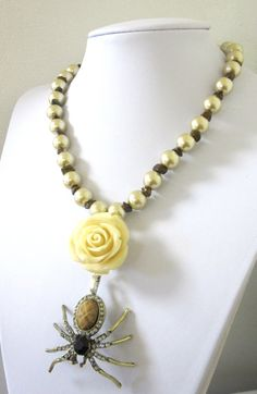 Day of the Dead Jewelry  Garden Spider Necklace by sweetie2sweetie, $31.99