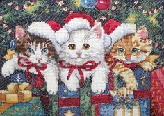 Скачать Кошачье рождество бесплатно. А также другие схемы вышивок в разделах: Кошки, Dimensions, Домашние животные, Рождество