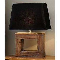 Giftcraft Rectangular Frame Wood Tischleuchte – Rustic home decor - LAMPE Rustic Table Lamps, Table Lamp Wood, Diy Table Lamps, Dining Table, Table Decorations, Diy Luminaire, Room Lamp, Desk Lamp, Bed Room