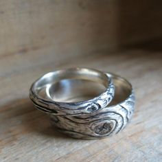 wood grain wedding ring PLYWOOD sterling silver SET faux bois twig rings made to order Wedding Rings Solitaire, Silver Wedding Rings, Diamond Engagement Rings, Silver Rings, Redneck Wedding Rings, Sea Glass Jewelry, Silver Jewelry, Gold Jewellery, Jewellery Shops