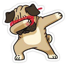 Dabbing Pug funny hip hop tshirt Sticker