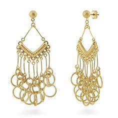 These chandelier earrings boast a coveted, luxurious feel in elegant shapes and sophisticated details. Made of gold-tone brass. Earrings measure 2.5 inch in length, 1 inch in width. Posts with butterfly backs.