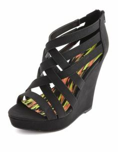 caged zip back wedge- football banquet shoes