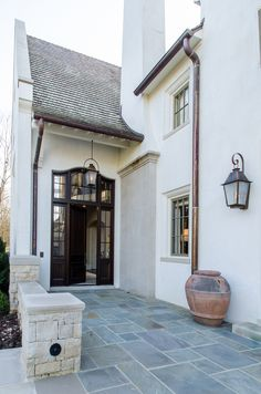 Asymmetrical French Eclectic — Farris Concepts in Architecture - Eclectic Decor Concept Architecture, Residential Architecture, Architecture Details, Southern House Plans, Southern Homes, Traditional Exterior, Traditional Design, Stucco Homes, Patio Flooring