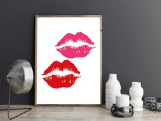 Printable art LIPS print printable quote printable art lipstick print,Digital…