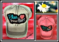 """CUTE SOUTHERN BELLE CAP for THOSE HOT DAYS IN THE SUN! """"Bless Your Heart"""" Distressed Cowgirl Cap  #cowgirl #western #southern #blessyourheart #sayings #cap #hat #distressed #boutique #fashion #heart #horseriding #horse #equine #barn #equestrian"""
