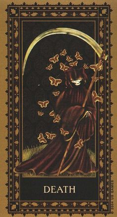 Tarot Draw 13: One of the most misunderstood of Tarot, Death does not symbolize an end rather a transformation...notice the butterflies in this Medieval Cat Tarot Card.