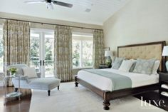Pale Blue Chaise in Master Bedroom