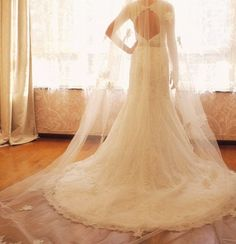 Vintage Lace Wedding Dress Bridal Gown A LINE Keyhole Open Back V Neck Mermaid Dress with Train Beading. $472.00, via Etsy.