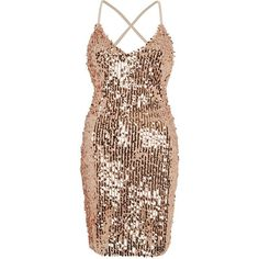 River Island Gold sequin strappy back bodycon dress ($90) ❤ liked on Polyvore featuring dresses, bodycon dresses, gold, women, mini dress, gold sequin cocktail dresses, gold cocktail dress, brown bodycon dress and bodycon mini dress