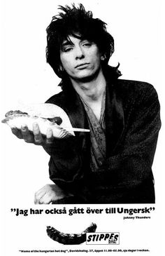 Johnny Thunders hawks hot dogs in 1984