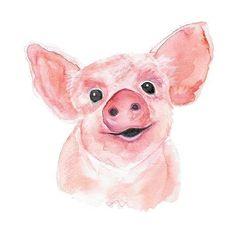 Ein kleines süßes Schweinchen in Wassermalfarben - super! #watercolor