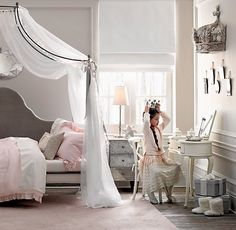 Allegra Iron Canopy Daybed | Daybeds | Restoration Hardware. I am in love with this daybed for Tay's room!!! With the hot pink and all the bling, it would look so unbelievable!!!!
