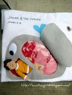 Jonah Page (Just make it a fish of some sort) via. Laura Thoughts: Quiet Book Week - Jonah & the Whale {Template} Bible Quiet Book, Busy Book, Quiet Books, Book Page Crafts, Bible Crafts, Kids Crafts, Felt Crafts, Felt Stories, Bible Stories