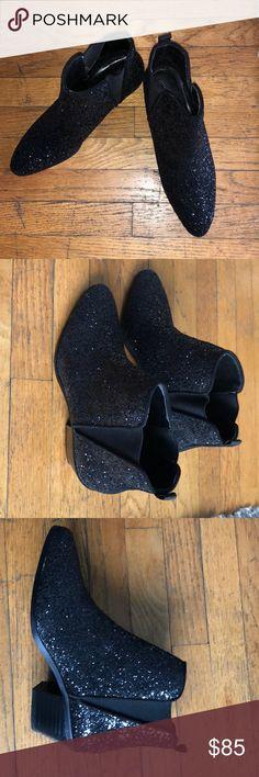 black Glitter Booties! Zara slip on black glitter booties! Worn once! Zara Shoes Ankle Boots & Booties