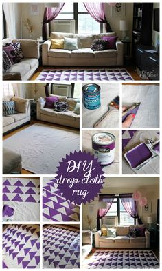 DIY Drop Cloth Rug with Olive Leaf Stencil and Paint