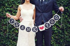 Thank You Banner Wedding Banner Wedding Day Banner Wedding Bunting Garland Thank You Sign Photo Booth Prop Wedding from CreativeButterflyXOX on Etsy.