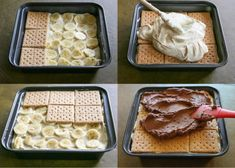 A delicious dessert without baking. Bananas, custard and biscuits are the right combination for small and large sweet tooths. A delicious dessert without baking. Bananas, custard and biscuits are the right combination for small and large sweet tooths. Easy No Bake Desserts, Delicious Desserts, Dessert Recipes, Mamon Recipe, Graham Cake, Dessert Oreo, Keks Dessert, Homemade Chocolate Frosting, Peanut Butter Filling