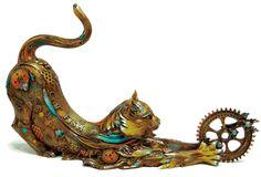 "Bronze ""steampunk"" cat: ""Catfish Lily"" by Nano Lopez"